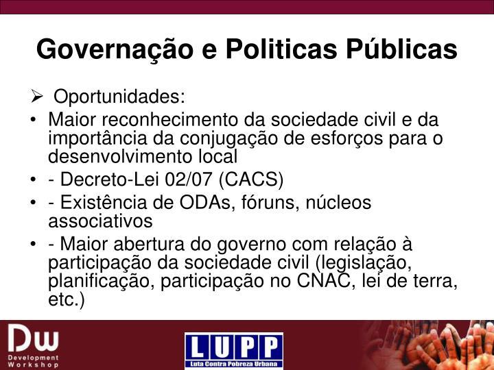 Governação e Politicas Públicas