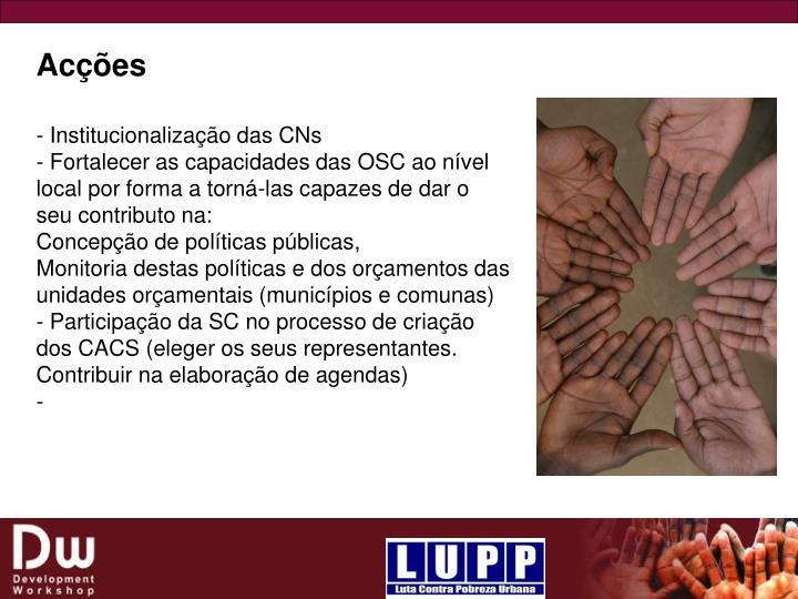 - Institucionalização das CNs