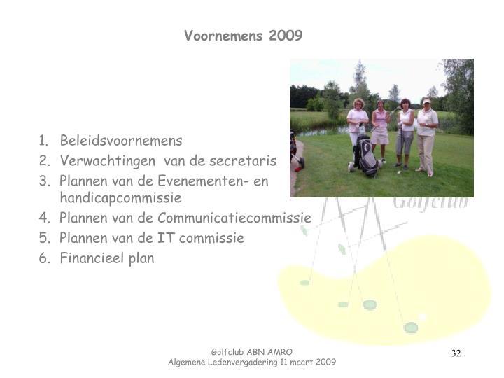 Voornemens 2009