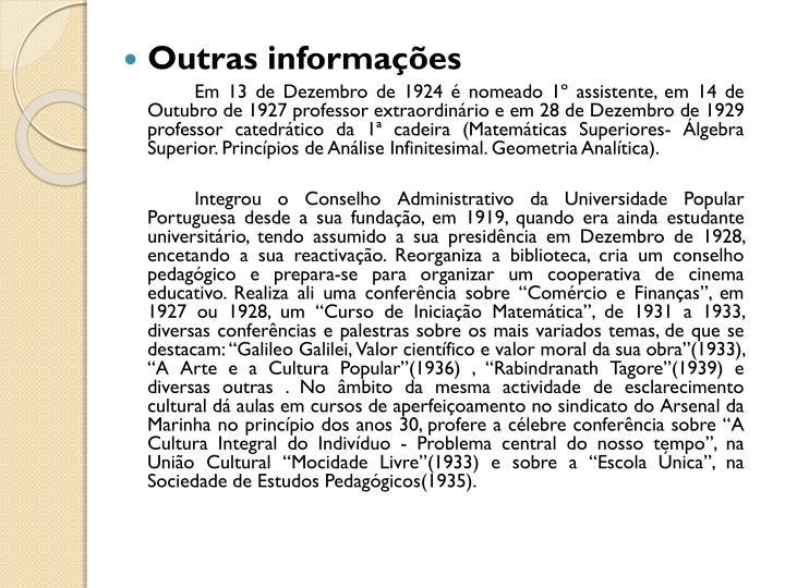 Outras informações