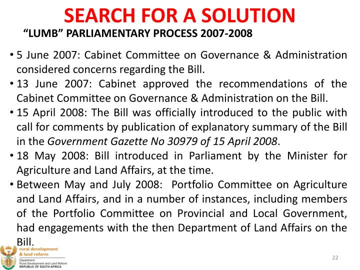 SEARCH FOR A SOLUTION