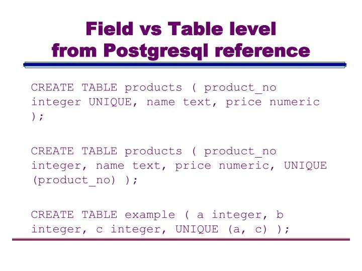 Field vs Table level