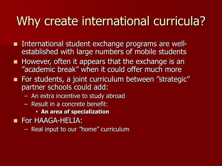 Why create international curricula?