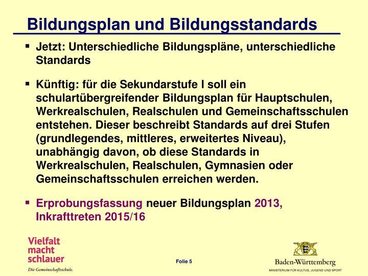 Bildungsplan und Bildungsstandards