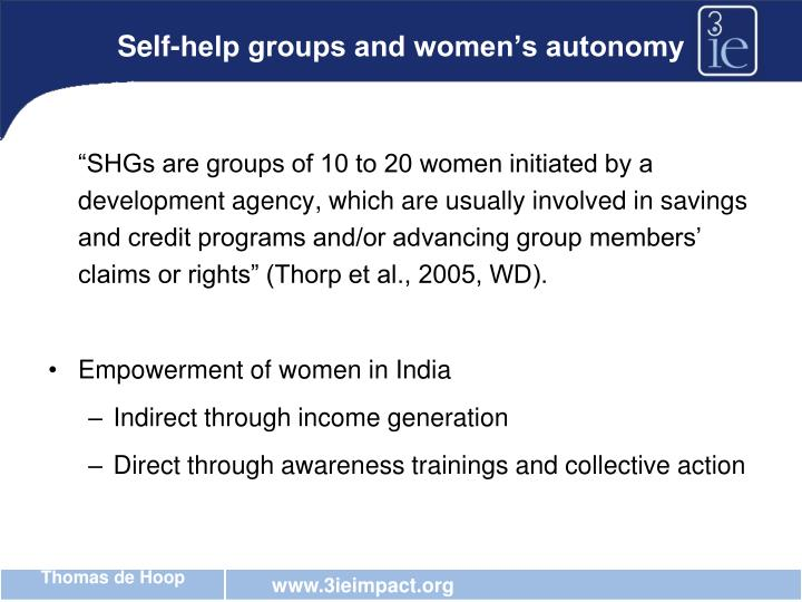 Self-help groups and women's autonomy