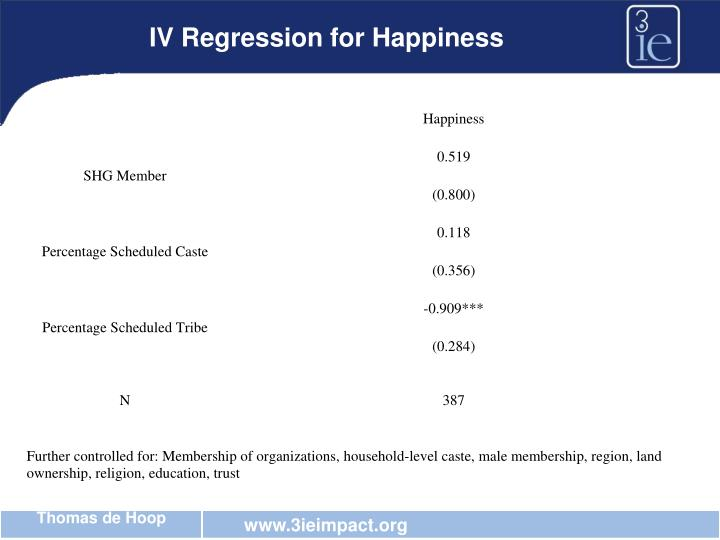 IV Regression for Happiness