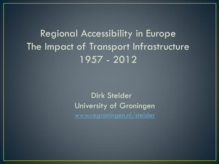 Regional Accessibility in Europe