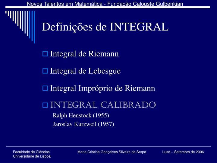 Definições de INTEGRAL