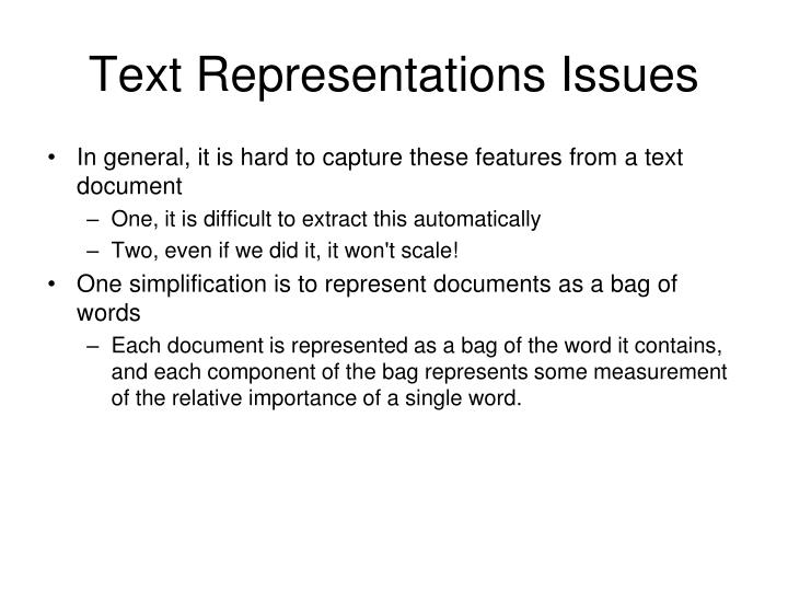 Text Representations Issues