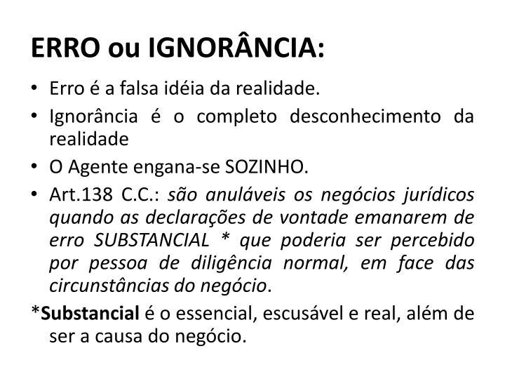 ERRO ou IGNORÂNCIA: