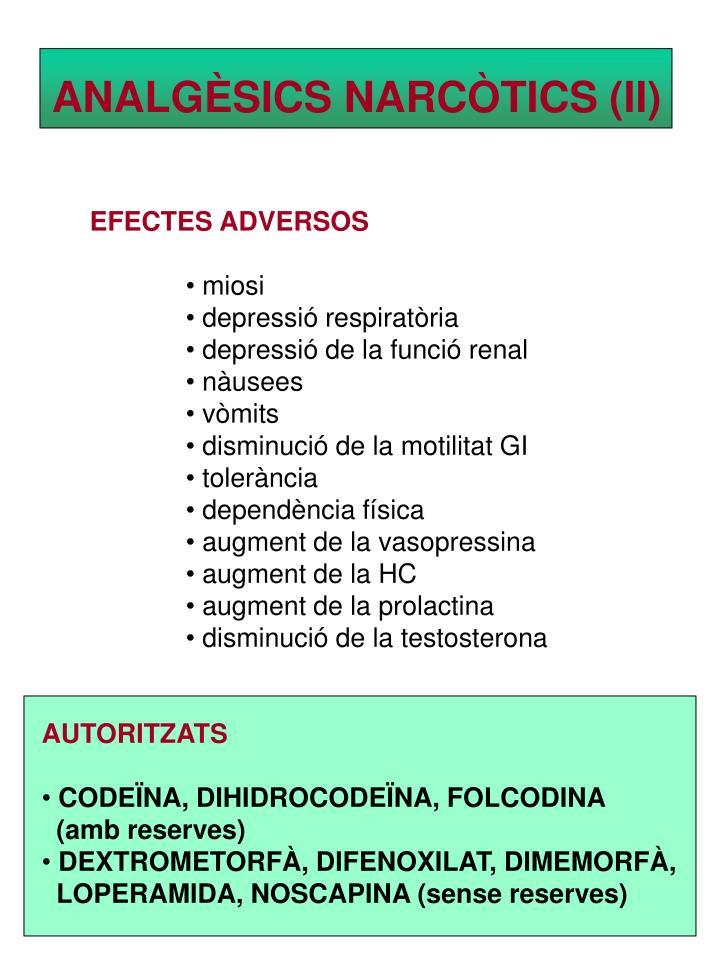 ANALGÈSICS NARCÒTICS (II)