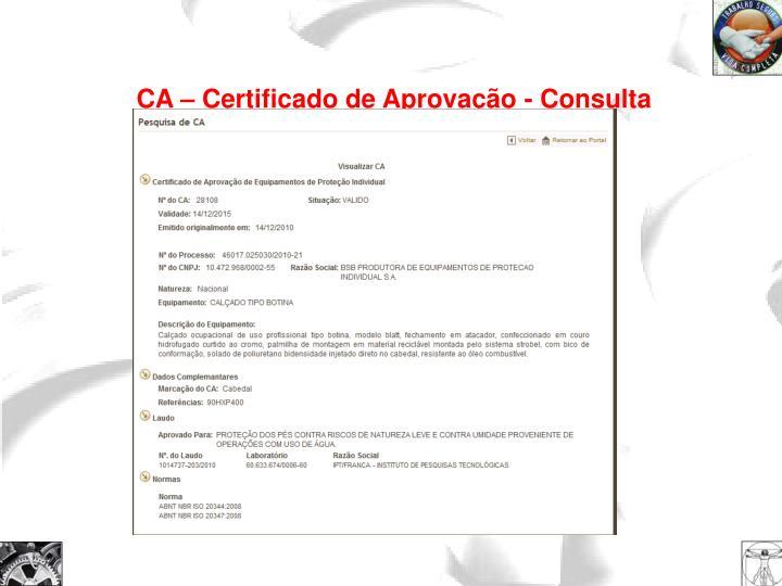 CA – Certificado de Aprovação - Consulta