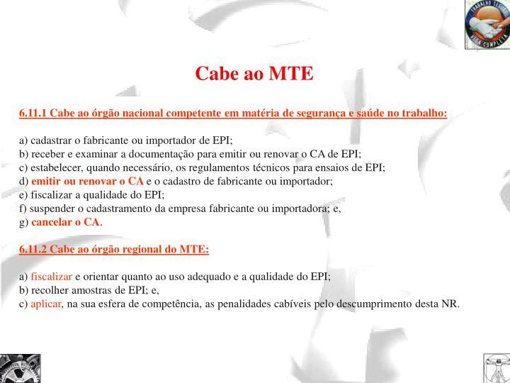 Cabe ao MTE