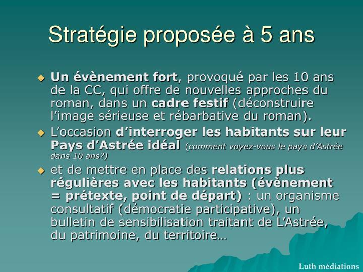 Stratégie proposée à 5 ans