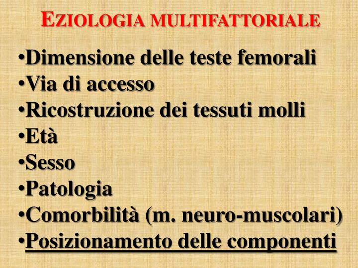 Eziologia multifattoriale