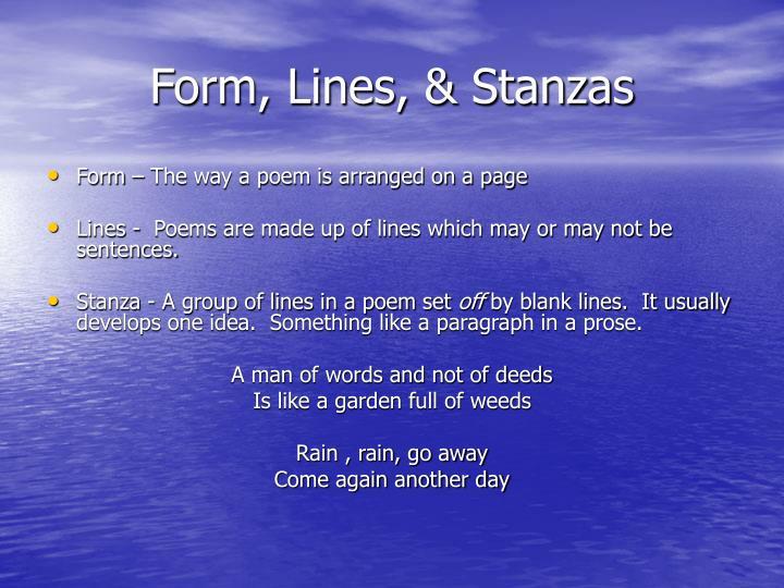 Form, Lines, & Stanzas