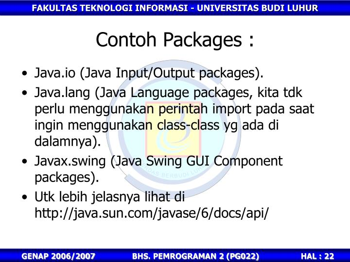 Contoh Packages :