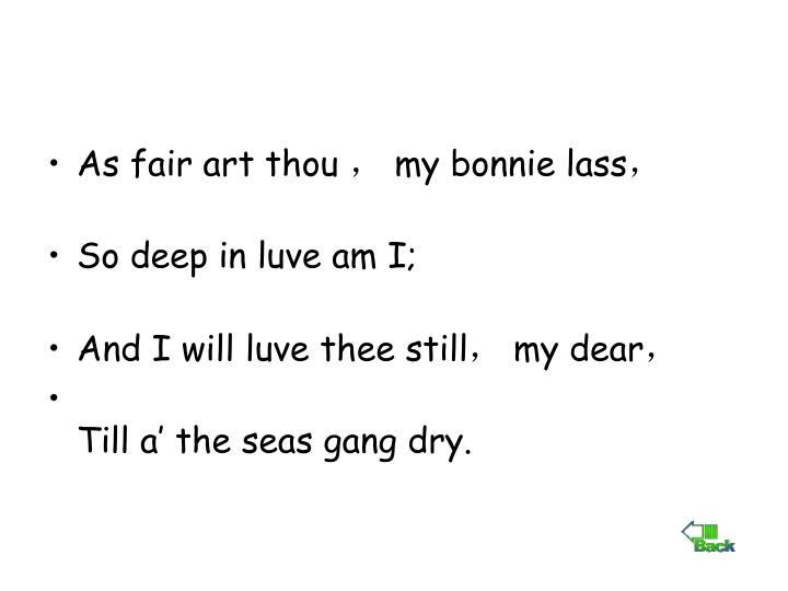 As fair art thou