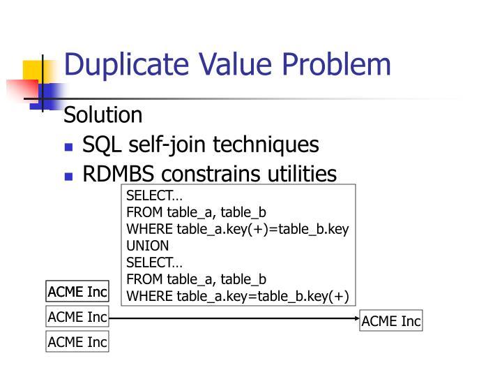 Duplicate Value Problem