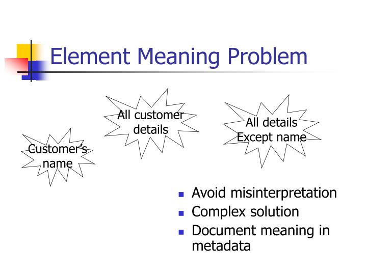 Element Meaning Problem