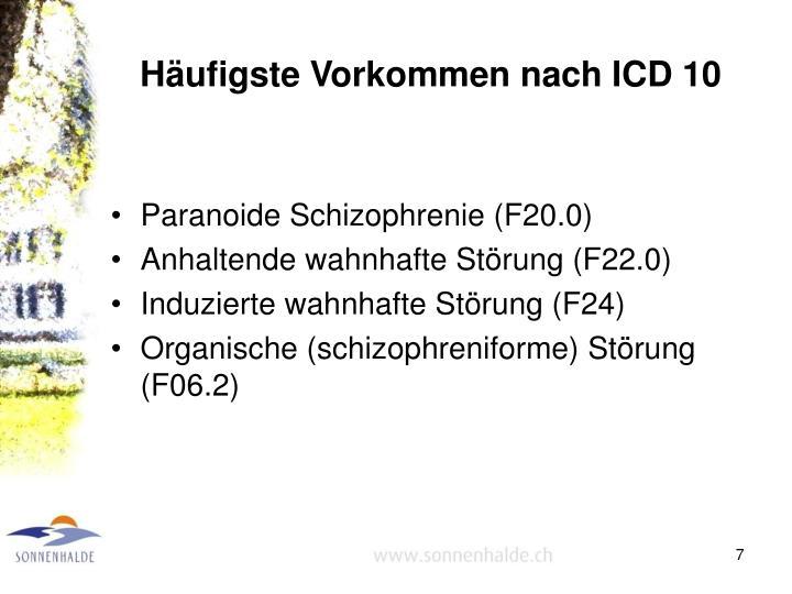 Häufigste Vorkommen nach ICD 10