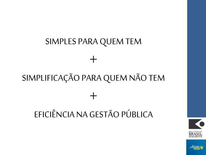 SIMPLES PARA QUEM TEM