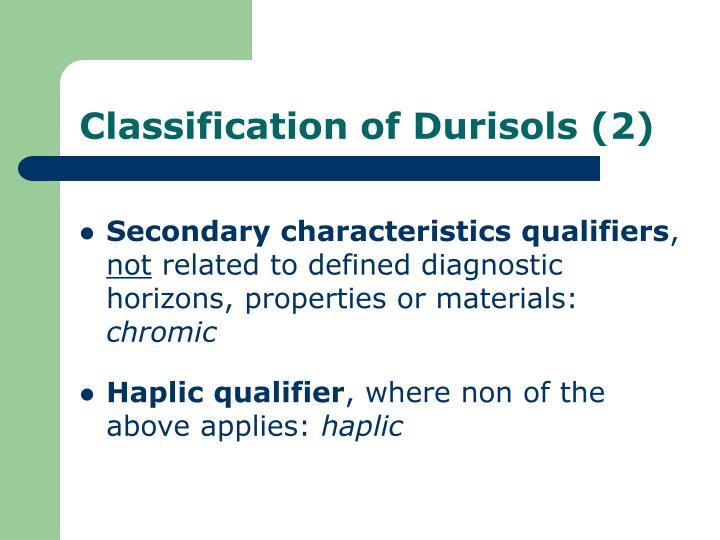 Classification of Durisols (2)