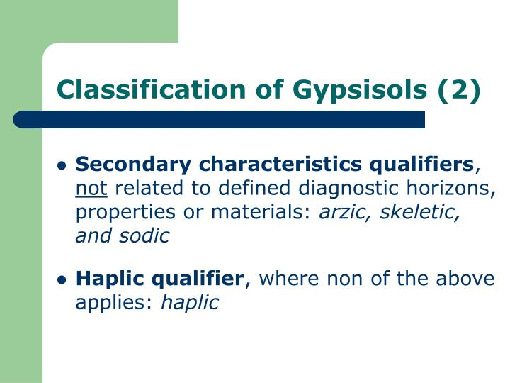 Classification of Gypsisols (2)