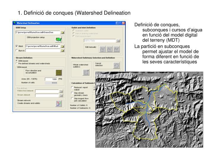 1. Definició de conques (Watershed Delineation