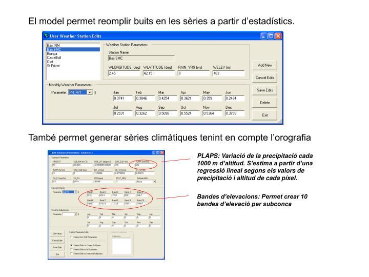 El model permet reomplir buits en les sèries a partir d'estadístics.