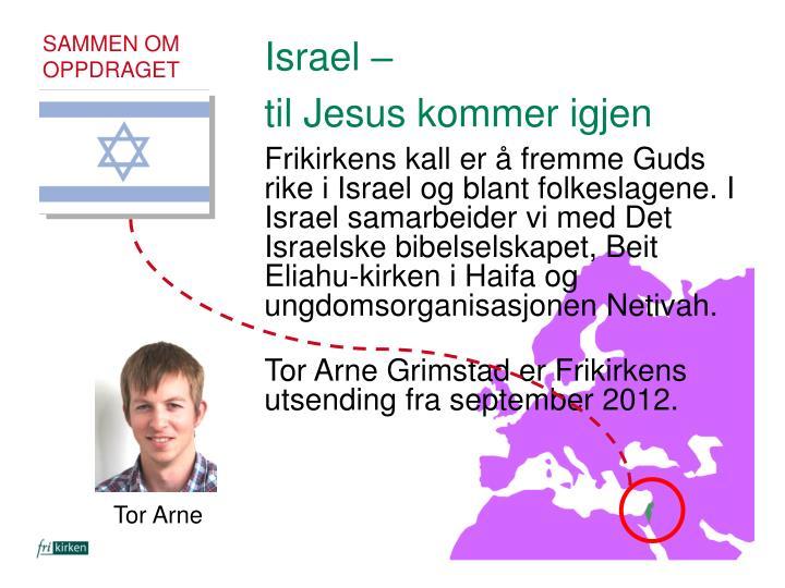 Frikirkens kall er å fremme Guds rike i Israel og blant folkeslagene. I Israel samarbeider vi med Det Israelske bibelselskapet, Beit Eliahu-kirken i Haifa og ungdomsorganisasjonen Netivah.