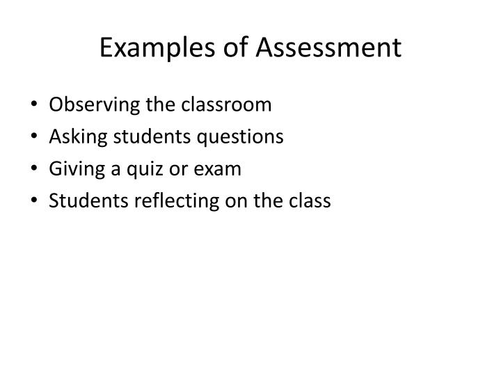 Examples of Assessment