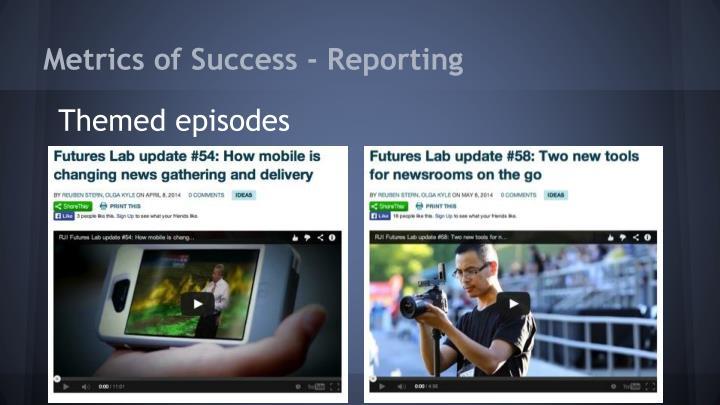 Metrics of Success - Reporting