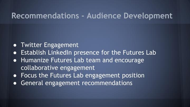 Recommendations - Audience Development