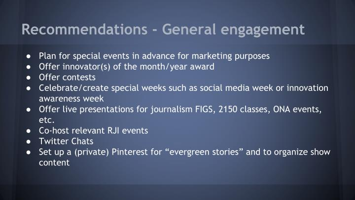 Recommendations - General engagement
