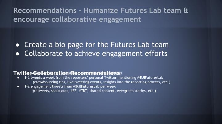 Recommendations - Humanize Futures Lab team & encourage collaborative engagement