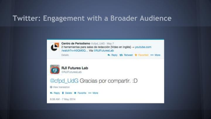 Twitter: Engagement with a Broader Audience