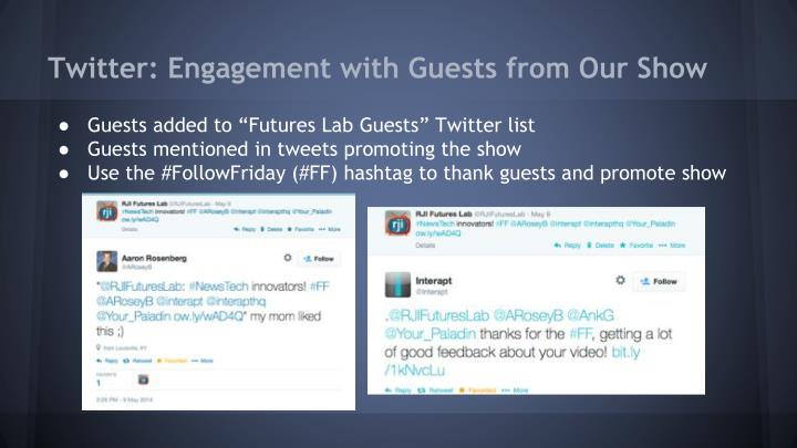 Twitter: Engagement with Guests from Our Show