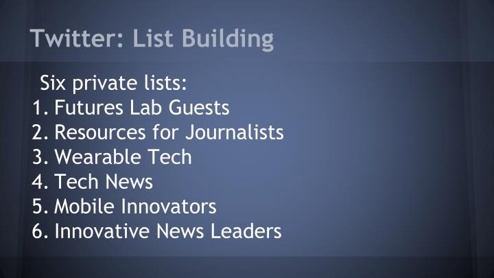 Twitter: List Building