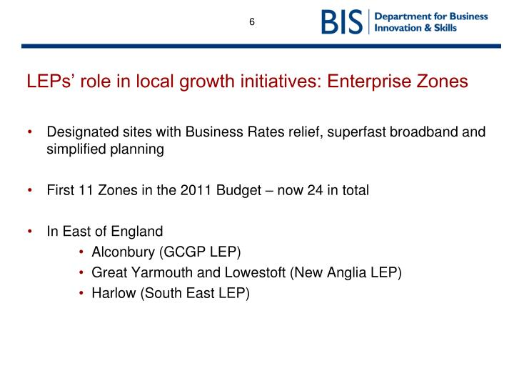 LEPs' role in local growth initiatives: Enterprise Zones
