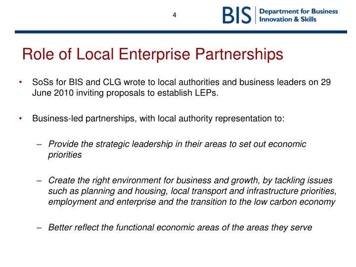 Role of Local Enterprise Partnerships