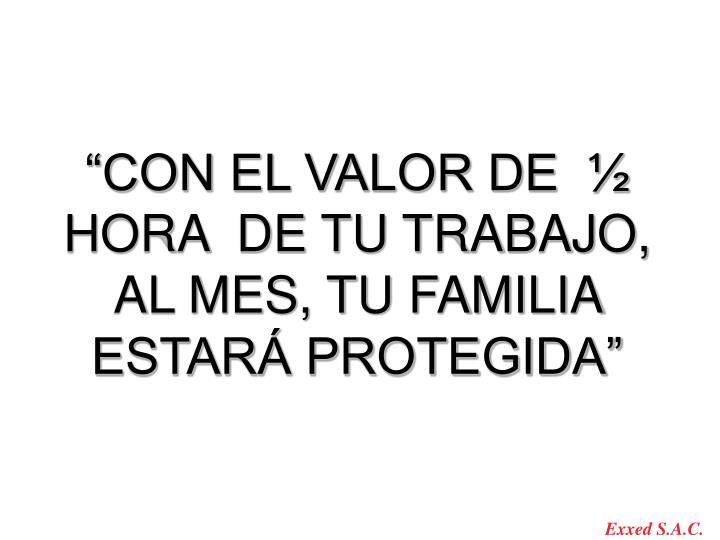 """""""CON EL VALOR DE  ½ HORA  DE TU TRABAJO, AL MES, TU FAMILIA ESTARÁ PROTEGIDA"""""""