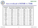 area overheads of rtmr vs tmr