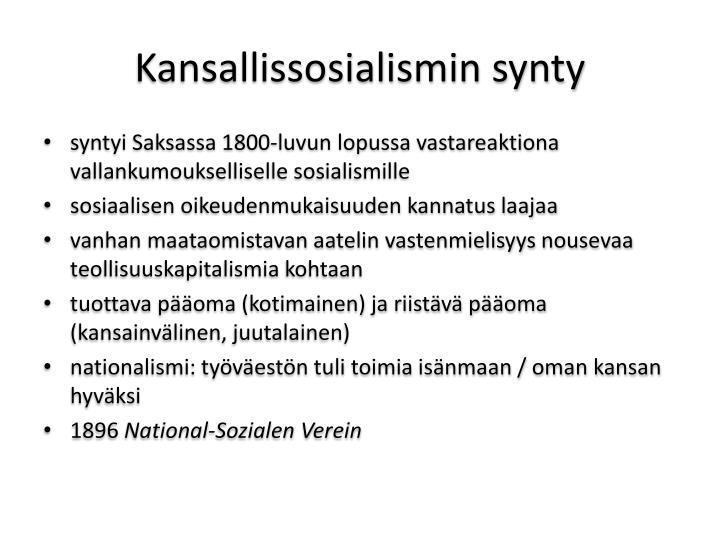 Kansallissosialismin synty