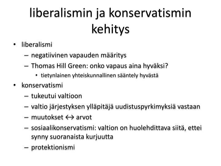 liberalismin ja konservatismin kehitys