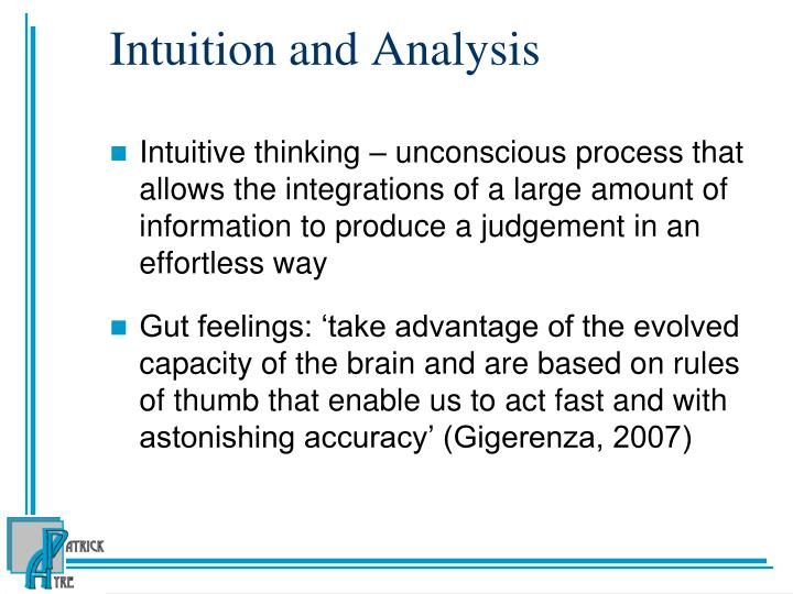 Intuition and Analysis