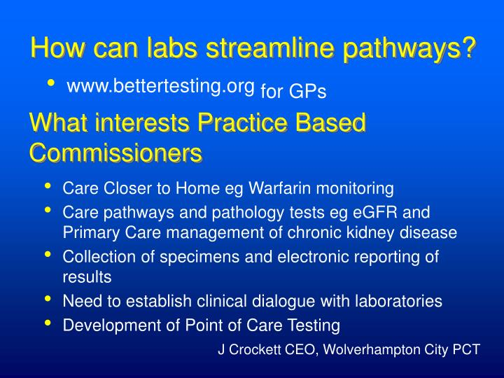 How can labs streamline pathways?