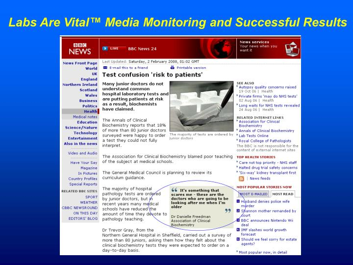 Labs Are Vital™ Media Monitoring and Successful Results