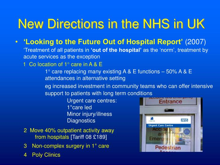 New Directions in the NHS in UK