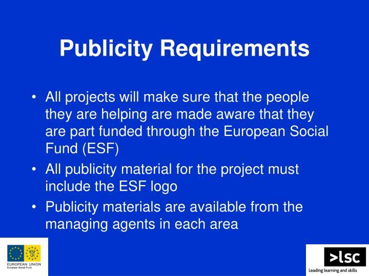 Publicity Requirements